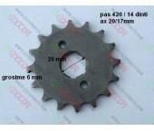 Pinion fata 420 / 14 dinti (pas 420/dinti14/ ax 20mm)