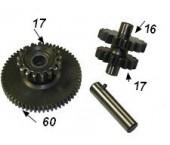 Pinion reductie set 17/60+17/16 dinti ptr el.motor cu 11 dinti motor CG